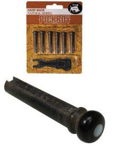 Pick Boy Ebbenhouten Brugpen/pin voor Akoestische Gitaar - Handmade Ebony Bridge Pins (6 stuks met pin puller)