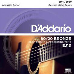 Aanbieding! D'Addario EJ13 snaren Bronze 80/20 Custom Light - 011 Snaren voor Akoestische gitaar (11-52)