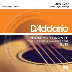 D'Addario EJ15 Extra Light - 010 Extra Light Phosphor Bronze western gitaarsnaren