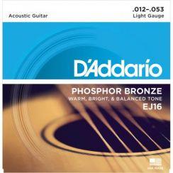 D'Addario EJ16 Light Phosphor Bronze snaren voor de akoestische gitaar (12-53)