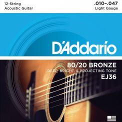 D'Addario EJ36 Western Snaren voor 12-snarige Gitaar 80/20 Bronze Light 010-47