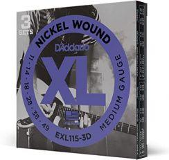 D'Addario EXL115-3D Snaren voor de Elektrische Gitaar (11-49) Medium 3-Pack