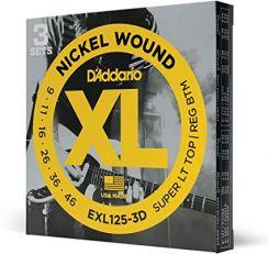 D'Addario EXL125-3D Nickel Wound Snaren voor Elektrische Gitaar 3Pack (9-46) Super Light Top / Regular Bottom