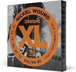 D'Addario EXL140-3D Snaren voor Elektrische Gitaar (10-52) 3-Pack Light Top / Heavy Bottom