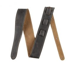 Fender Road Worn Gitaarband Zwart Antraciet - Guitar Strap 100% Leather