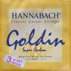 Hannabach Goldin 725 Super Carbon Treble Set - Medium/High Tension treble snaren E / B / G
