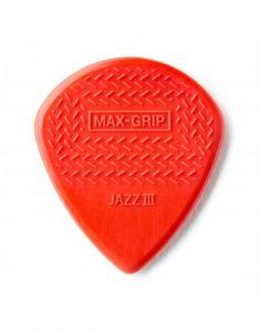 Dunlop Max Grip Red Nylon Jazz III Rood Plectrum I Per Stuk