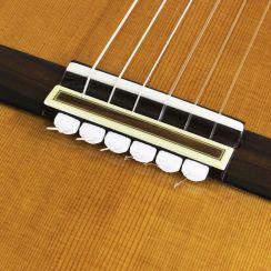 Witte String Ties Diamond Secure Tieblock System voor Klassieke gitaar - Classical Guitar Tieblock System Rosette