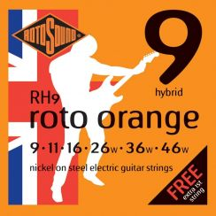 Rotosound RH9 Roto Orange Snarenset voor de Elektrische Gitaar (9-46) Hybrid I met een gratis 1-E snaar
