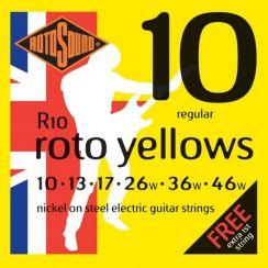 Rotosound R10 Roto Yellows Snaren voor de Elektrische Gitaar (10-46) I met een gratis 1-E snaar